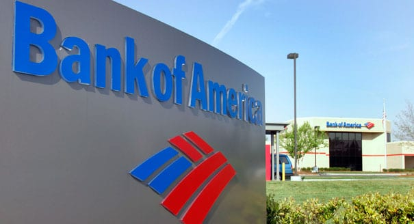 Bank of America Sign in front of Bank Branch Location