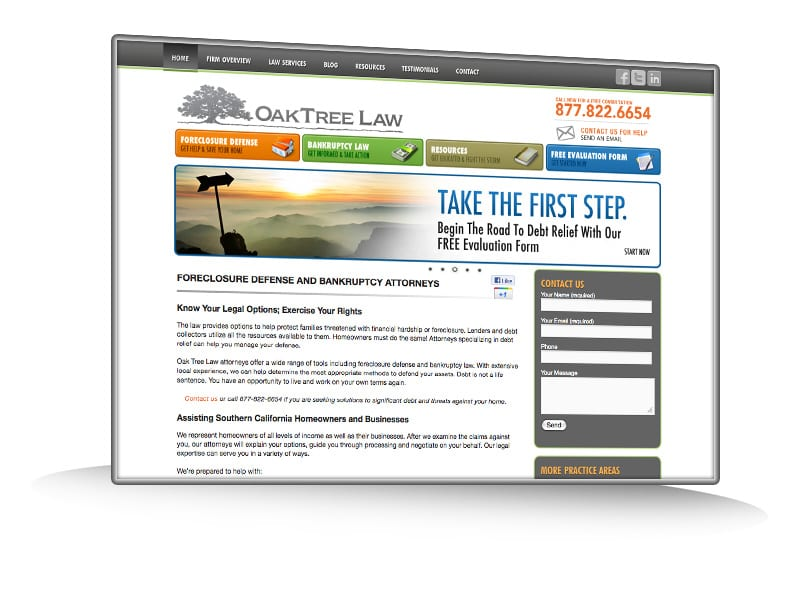 OakTree Law Blog Webpage Design