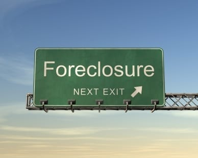 The Word Foreclosure Written on a Green Highway Sign
