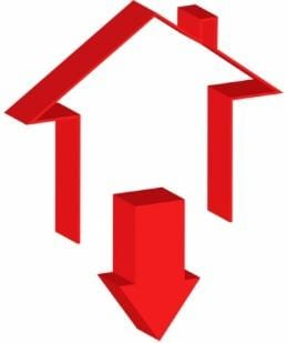 Red Outline of a House with Downward Facing Red Arrow Below It on White Background