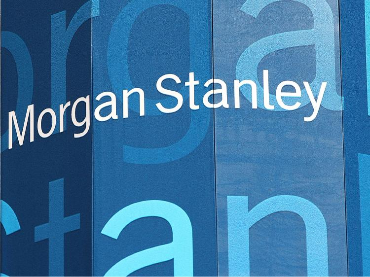 Morgan Stanley Logo on Screen Outside Company Headquarters White Text on Blue Background