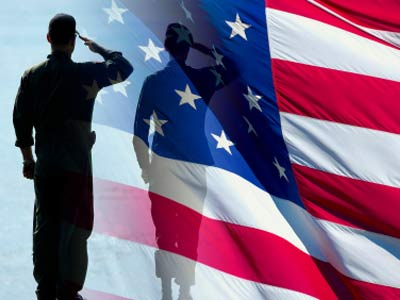 Soldier Silhouette Saluting American Flag