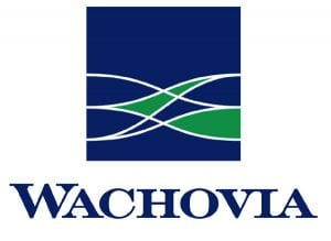 Close Up View of Wachovia Corp Logo on White Background