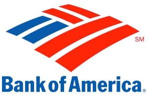 Close Up View of Bank of America Logo on White Background
