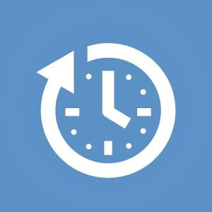 White Clock Graphic on Light Blue Background