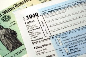 Orange County bankruptcy attorney - This is an image of a tax return and refund check.