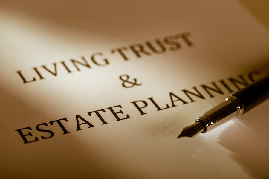 "Los Angeles trusts attorney - Fountain Pen Lying on the ""Living Trust and Estate Planning"" - Close Up"