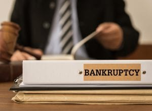 Bankruptcy Document Folder With Lawyer Work At Law Firm. Concept
