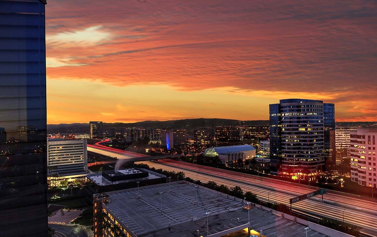Sunrise and City Light Trails in Irvine