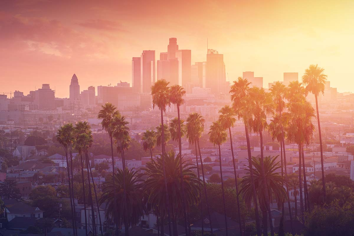 downtown Los Angeles during sunset