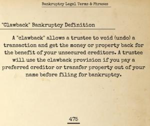 Clawback Bankruptcy Procedure
